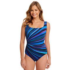 Women's Great Lengths Tummy Slimmer Striped One-Piece Swimsuit