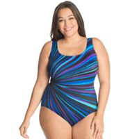 Plus Size Great Lengths Tummy Slimmer Striped One-Piece Swimsuit
