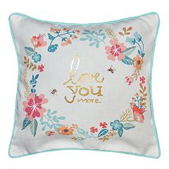 Spencer Home Decor ''Love You More'' Wreath Mini Throw Pillow