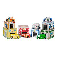 Melissa & Doug Nesting & Sorting Buildings & Vehicles Set