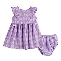Baby Girl Jumping Beans Pom Trim Flutter Dress & Bloomers Set