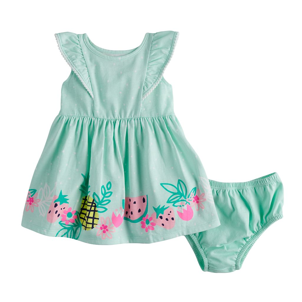 Baby Girl Jumping Beans® Pom Trim Flutter Dress & Bloomers Set