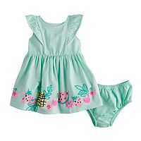 Baby Girl Jumping Beans® Pom Trim Flutter Dress & Bloomers Set