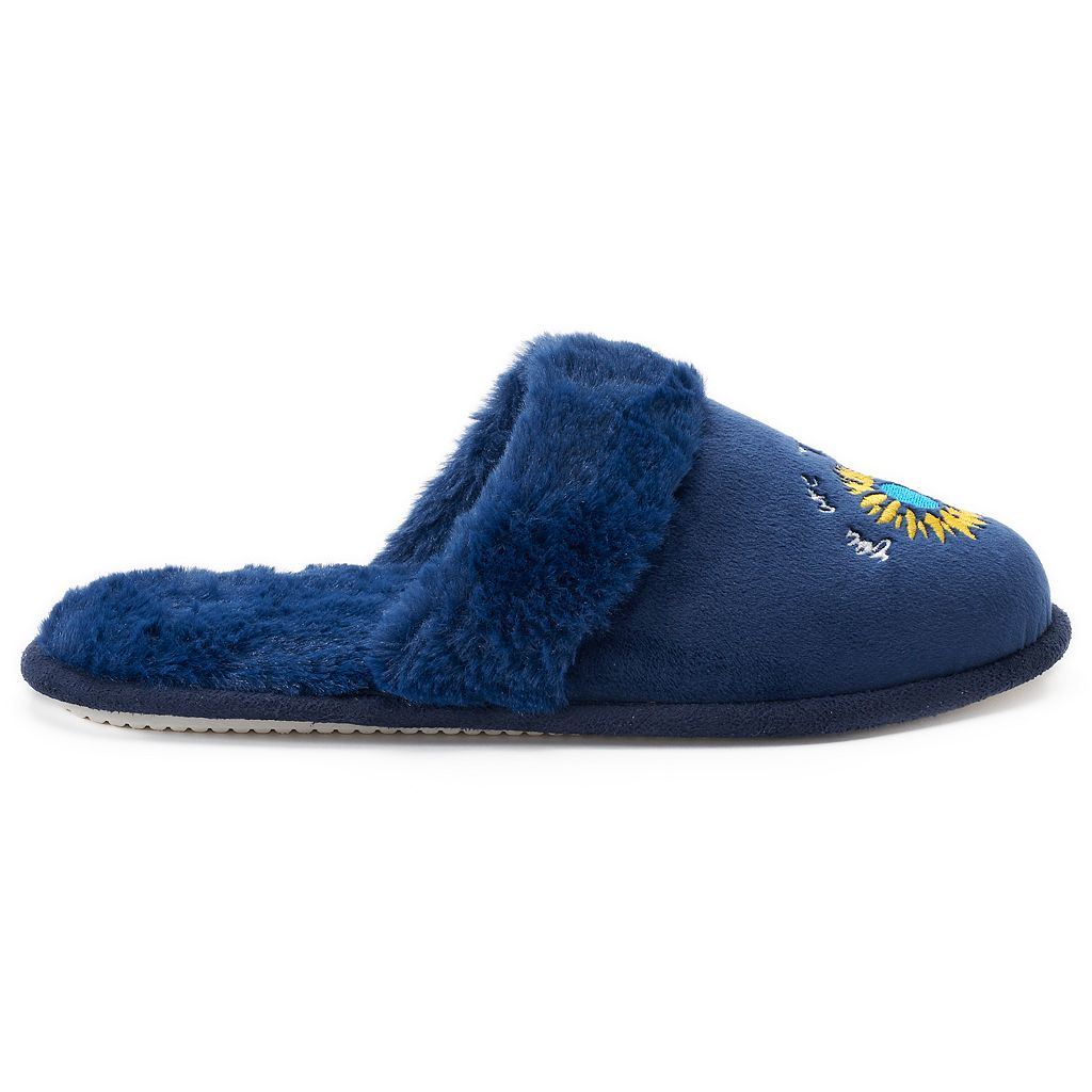 Women's love this life Embroidered Faux Fur Slippers