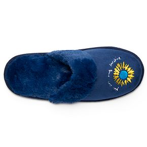 Women's love this life ... Embroidered Faux Fur Slippers I77L6