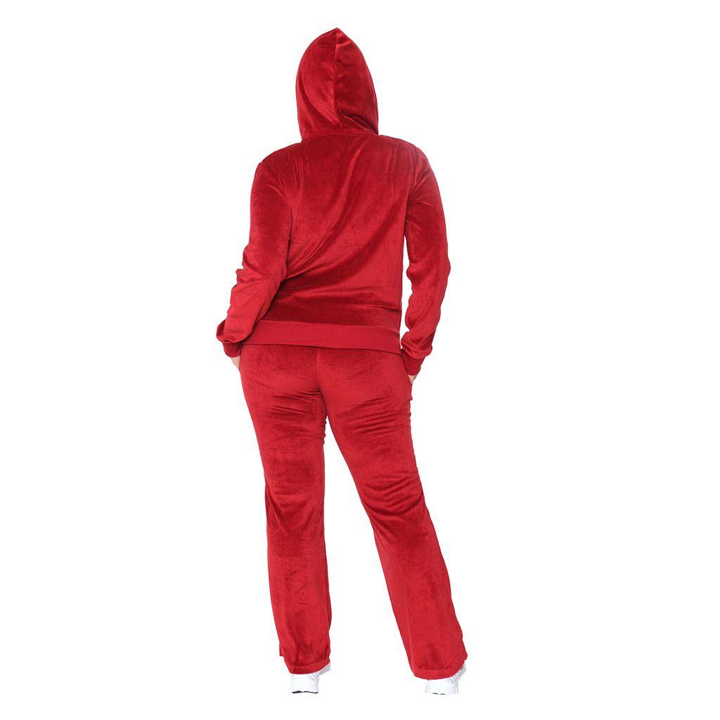 Plus Size White Mark Velour Hoodie & Pant Set