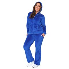 Plus Size White Mark Velour Hoodie & Pant Set