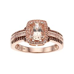 10k Rose Gold Morganite & 1/5 Carat T.W. White & Champagne Diamond Halo Ring