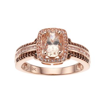 10k Rose Gold Morganite & 1/5 Carat T.W. White & Champagne Diamond Halo Ring