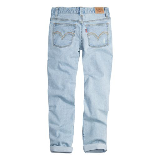 Girls 7-16 Levi's Destructed Rolled Cuff Light Wash Girlfriend Jeans