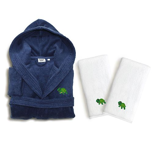 Kids Linum Home Textiles Turtle 3-piece Terry Hooded Bathrobe & Hand Towel Set