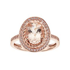 10k Rose Gold Morganite & 1/5 Carat T.W. Diamond Oval Halo Ring