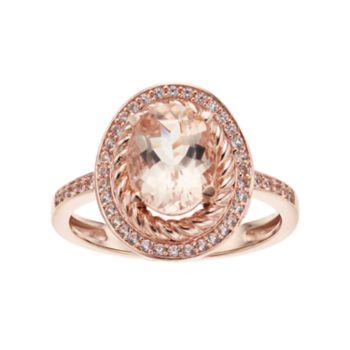 10k Rose Gold Morganite & 1/5 Carat T.W. Diamond Oval Halo Ring
