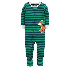 Baby Boy Carter's Striped Tiger Football One-Piece Footed Pajamas