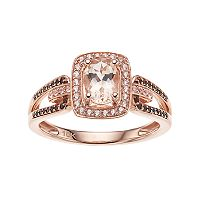 10k Rose Gold Morganite & 1/8 Carat T.W. White & Champagne Diamond Halo Ring