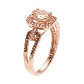 10k Rose Gold Morganite & 1/8 Carat T.W. White & Champagne Diamond Halo Ring