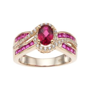 14k Gold Over Silver Lab-Created Ruby & White Sapphire Oval Halo Ring