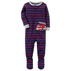Baby Boy Carter's Striped Fire Truck Applique Sleep & Play