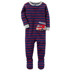 Baby Boy Carter's Striped Fire Truck Applique One-Piece Footed Pajamas