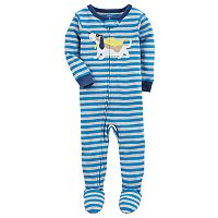 Baby Boy Carter's Super Dog Striped One-Piece Footed Pajamas