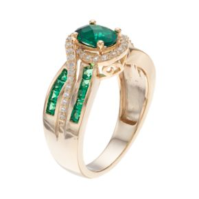 14k Gold Over Silver Lab-Created Emerald & White Sapphire Oval Halo Ring