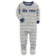 Baby Boy Carter's 'Best Brother' Striped One-Piece Footed Pajamas