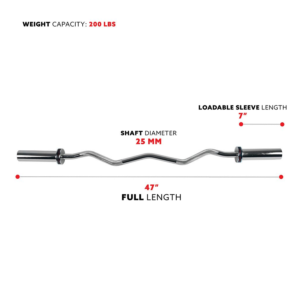 Sunny Health & Fitness 47-in. Olympic Curl Bar with Ring Collars