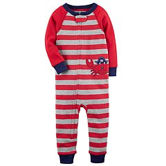 Baby Boy Carter's Crab Striped Footless One-Piece Pajamas