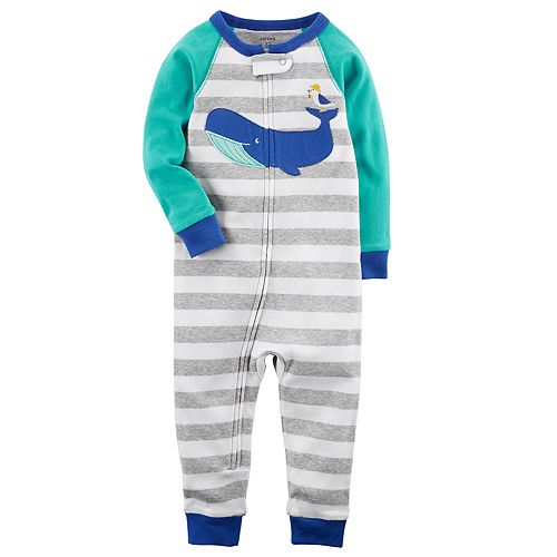 701542fe8 Baby Boy Carter s Whale Striped Footless One-Piece Pajamas