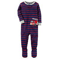 Toddler Boy Carter's Striped Fire Truck Applique Footed Pajamas