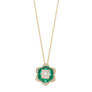 14k Gold Over Silver Lab-Created Emerald Flower Pendant Necklace