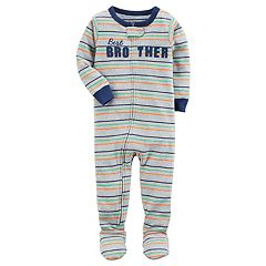 Toddler Boy Carter's 'Best Brother' Striped Footed Pajamas