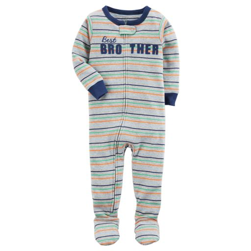 "Toddler Boy Carter's ""Best Brother"" Striped Footed Pajamas"