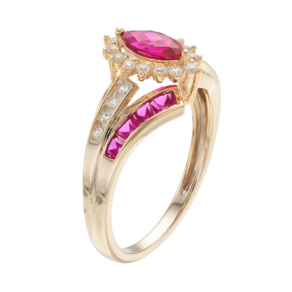 14k Gold Over Silver Lab-Created Ruby & White Sapphire Marquise Halo Ring