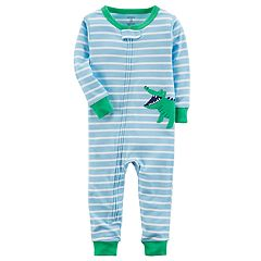 Toddler Boy Carter's Striped Alligator Applique Footless Pajamas