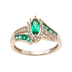 14k Gold Over Silver Lab-Created Emerald & White Sapphire Marquise Halo Ring