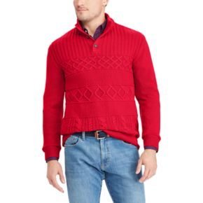 Big & Tall Chaps Classic-Fit Cable-Knit Mockneck Sweater