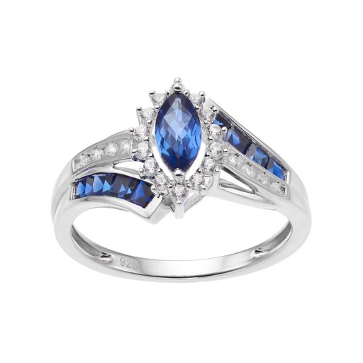 Sterling Silver Lab-Created Blue & White Sapphire Marquise Halo Ring