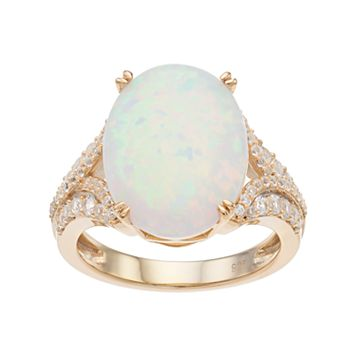 14k Gold Over Silver Lab-Created White Opal & White Sapphire Oval Ring
