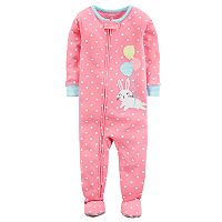 Baby Girl Carter's Balloon Bunny Rabbit & Polka-Dot Footed Pajamas
