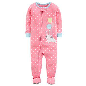 Baby Girl Carter's Balloon Bunny Rabbit & Polka-Dot Footed Pajamas