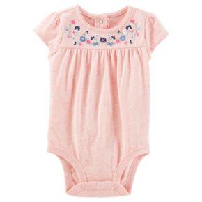 Baby Girl OshKosh B'gosh® Flower Yoke Heathered Bodysuit
