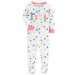 Baby Girl Carter's 'Best Sister' Polka-Dot Footed Pajamas