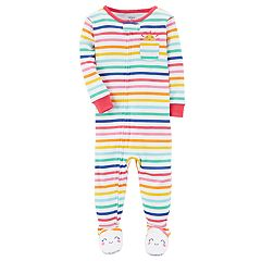 Baby Girl Carter's Sunshine Striped Footed Pajamas
