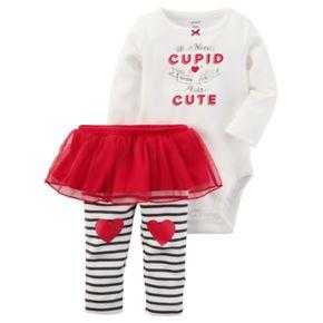 "Baby Girl Carter's ""Who Needs Cupid"" Graphic Bodysuit & Tutu Leggings Set"