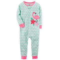 Baby Girl Carter's Flamingo Polka Dot Footless One-Piece Pajamas