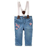 Baby Girl OshKosh B'gosh® Suspender Flower Embroidered Jeans