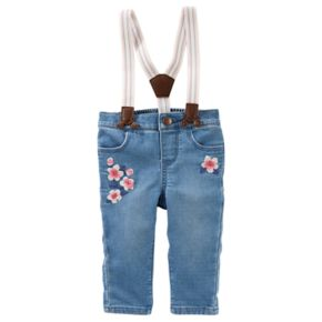 Baby Girl OshKosh B'gosh® Suspender Flower Embroidered Jeans