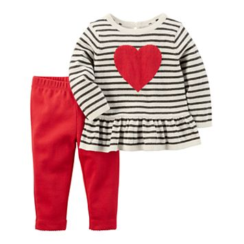 Baby Girl Carter's Striped Heart Peplum Sweater & Leggings Set