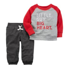"Baby Boy Carter's ""Little Guy Big Heart"" French Terry Sweater & Pants Set"